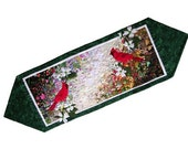 Whims Watercolor Quilt Kit - Cardinal Table Runner - Designed by Mim Schlabach -  Fusible Quilting Grid Included