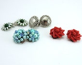Earrings, Vintage Sixties Clip Earrings, Jewelry, Beaded Earrings, Metal Earrings