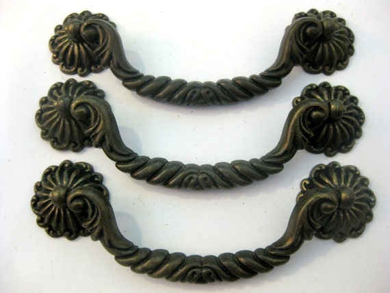 Lot of 3 Vintage Drawer Pulls 5 centers Ornate brass