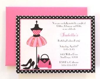 Glamour Girl Birthday Invitations (Set of 12), Glamour Themed Party, Fashion Birthday Party, Fashion Themed Birthday, Fashionista Birthday
