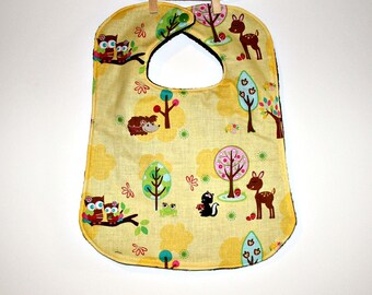 Hoo's in the Forest Toddler Bib, Toddler Bib, Baby Bib, Boutique-style Bib, Large Bib
