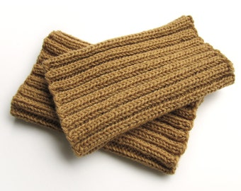 Ribbing Knit Boot Cuffs - Hand Knitted - Bulky Boot Toppers, Leg Warmers - 100% Natural Wool - Dark Sandy