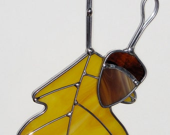 Stained Glass Suncatcher - Fall Oak Leaf with Acorn and Wire Accents