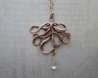 Steampunk Victorian Silver Octopus Necklace with Swarovski Crystal Drops