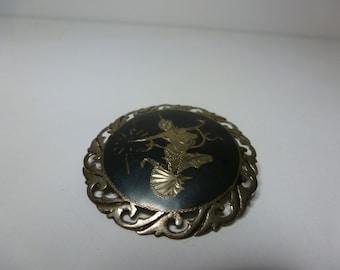 Siam Sterling Silver Brooch Nielloware Vintage Siam Silver Brooch Signed Siam Brooch