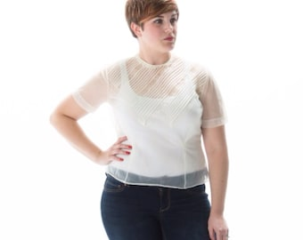 1950's Sheer Cream Blouse/ Judy Bond Lace and Pintuck Blouse