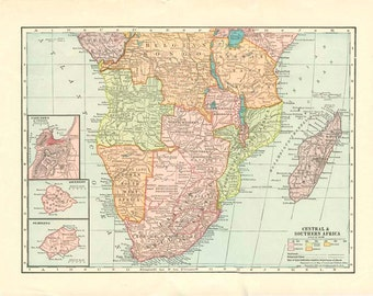 CENTRAL & SOUTHERN AFRICA Vintage Map Nelson's Perpetual Loose-Leaf Encyclopedia Page