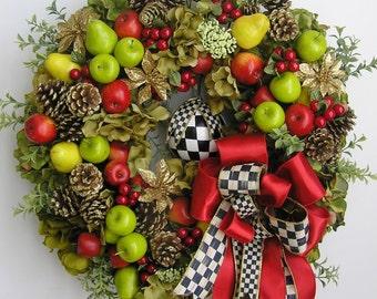 Christmas Wreath ,Thanksgiving Wreath,  Apple Wreath, Pear Wreath,Fruit Wreath, Williamsburg Wreath, Fall Wreath, Autumn Wreath