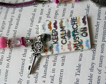 Keep Calm and Mustache On Beaded BookMark-Pink