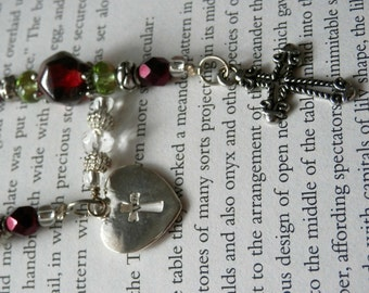 Sale  --  Holy Cross Blood Red and Peridot Beaded BookMark