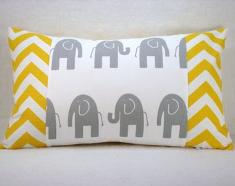 Grey and White Elephant with Yellow and White Chevron Lumbar Pillow Cover 12x18