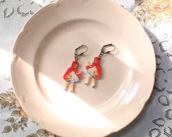 SALE!! Little Red Riding Hood Fairy Tale Inspired Statement Dangle Earrings by Vuelavuela