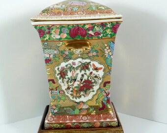 2 Antique Chinese Rose Medallion Bough Pot Vases, 19th C  - Canton  cs