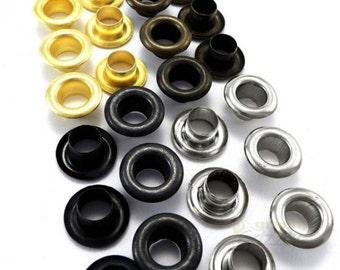 3mm steel eyelets with washers in silver, black, gold, antique brass, A4E