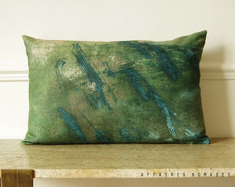 "Pond of moss.  Nature-inspired. Vivid green  linen oblong pillowcase  14""x 22""...  / FRAGMENTS."