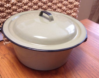 Vintage Sage Green Enamelware Pan And Lid