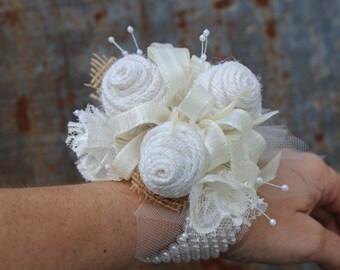 Cream  and White Wristlet Burlap and Lace Wedding Corsage for rustic, prairie style, country wedding