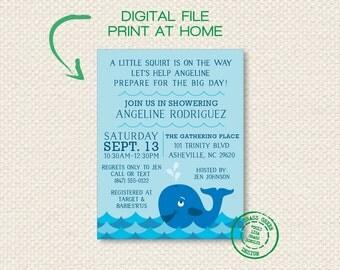 Whale Baby Shower Invitation PRINTABLE - DIGITAL FILE