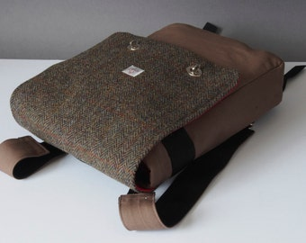 Rucksack Messenger Bag with Harris Tweed option