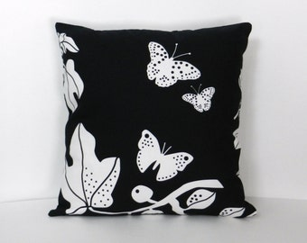 Leaves and Butterflies Throw Pillow Cover, Black, White, IKEA  Home Dec Fabric with invisible zipper closure