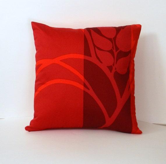 Marimekko Throw Pillow Covers : Marimekko Fabric Pillow Cover Red MADISON by OriginalCopyDesigns