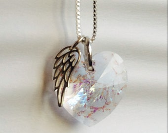 Memorial Jewelry - Swarovski ®ElementsCrystal - Sterling Silver - Angel Wing Heart Necklace  - Memorial Jewelry Remembrance - white patina
