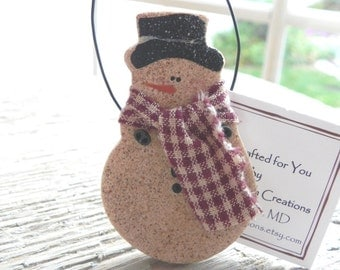 Salt Dough Primitive Snowmen / Party Favors /  Winter Wedding Favors /  Napkin Rings