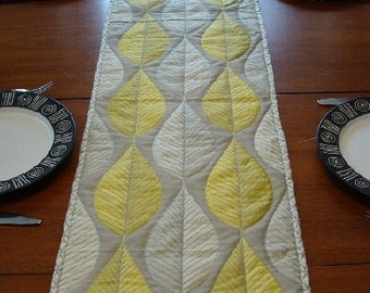 Quilted Table Runner, Modern, Loose Leaves SALE