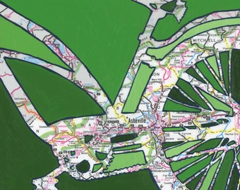 Asheville - medium print - 13x13 & 16x16   Hendersonville, Waynesville, Lake Junaluska, Blue Ridge, North Carolina  bicycle art bike print