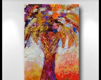 "Original Large Abstract Palmetto Tree Painting- ""Palmetto Abstract""- by Claire McElveen"