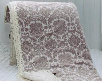 """Sale- Minky baby blanket -30""""X36""""- double minky blanket- damask blanket- crochet trim minky baby blanket - Minky blanket"""