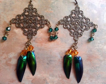 Unique Antique Bronze Filigree Dangle Earrings Featuring Iridescent Elytra Beetle Wings and Swarovski Crystals