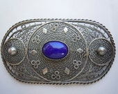 Vintage Antique Large Oval Filigree Sterling Silver Ornate Brooch Pin Oval Dark Blue Gemstone Lapis Made in Palestine