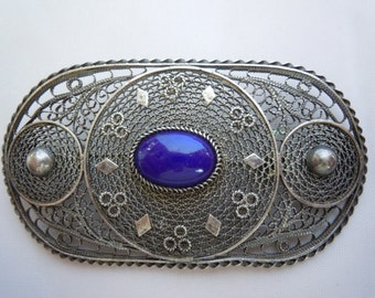 Antique Large Oval Filigree Sterling Silver Ornate Brooch Pin Oval Dark Blue Gemstone Lapis Made in Palestine