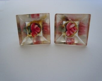 Vintage Reverse Carved Pink Rose Lucite Screw-back Earrings