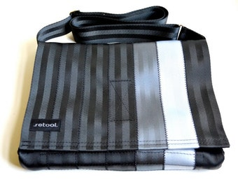 Crossbody Bag - Vegan Messenger Bag - Black, Gray and Silver Seatbelt Bag (M-7)