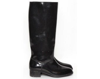 Black Rubber Knee High Boots Size 6.5