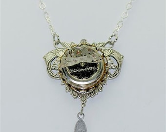 Vintage Victorian Steampunk Filigree Ronda-Matic Swiveling 21 Jewel Watch Movement  Pendant Necklace