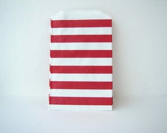 Red Stripe paper bag Candy bag Red striped favor bag red white striped bags valentine's day treat bags