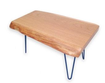 Coffee Table - Live Edge - Blue Hairpin Legs