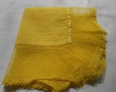 Vintage Yellow Hand-Dyed Hanky with Lace