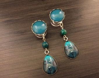 Midnight Blue Dangle Plugs 2g 4g 6g 0g Ear Plugs, Teardrop Dangly Gauged Earrings Plugs For Stretched Ear Piercings Wood/Acrylic/Steel Plugs