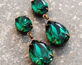 Emerald Green Earrings Swarovski Crystal Emerald Earrings Rhinestone Post Dangle or Clip on Earrings Petite Fiesta Mashugana