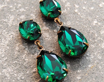 Emerald Green Earrings Swarovski Crystal Emerald Earrings Rhinestone Post Dangle or Clip on Earrings Petite Fiesta Mashugana
