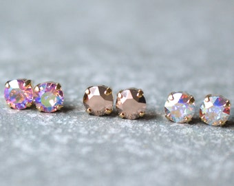 Rose Gold Aurora Borealis Bridesmaid Earrings Swarovski Crystal 8mm Studs Set of Three Earrings Baby Pink Earrings Will You Be My Bridesmaid