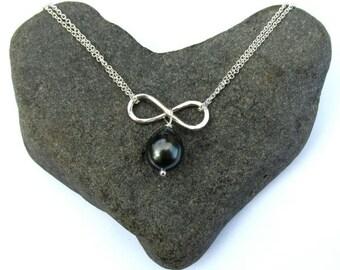 Tahitian Pearl Infinity Necklace, Sterling Silver, Genuine Black Pearl, Bridal Jewelry, Christmas Gift, Anniversary, Handmade Maui Hawaii