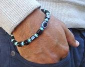 Men's Spiritual Evil Eye Protection Bracelet with Turquoise, Jet Glass Cubes, Nazar Boncugu - Evil Eye Resin, Gunmetal Rondelles, Bali Bead