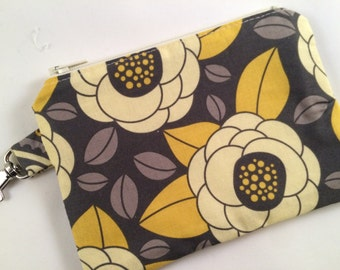 Yellow and Gray Floral Small Zippered Pouch, Coin Purse, Knitting Notions Case, Stocking Stuffer, iPod Case
