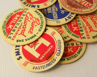 Vintage milk bottle caps