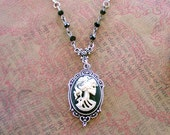 Steampunk Womens Skull Cameo Necklace Lolita Day of the Dead